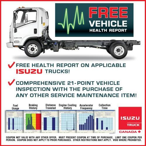 Free Vehicle Health Report For Isuzu Trucks.