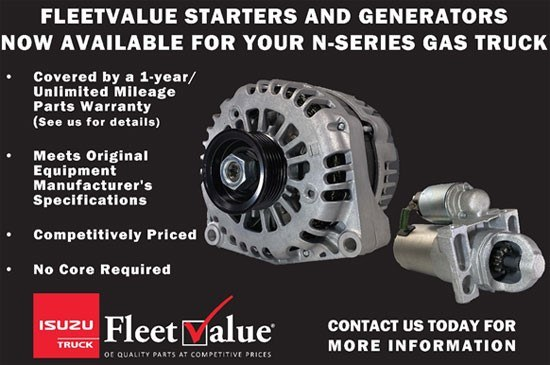 FleetValue Starters and Generators - Izuzu N-Series Gas Truck Humberview Trucks