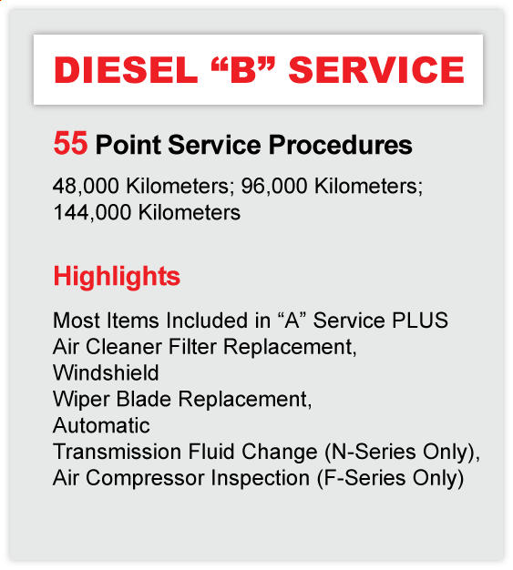 Humberview Trucks Diesel B Service Priority Service Maintenance Program